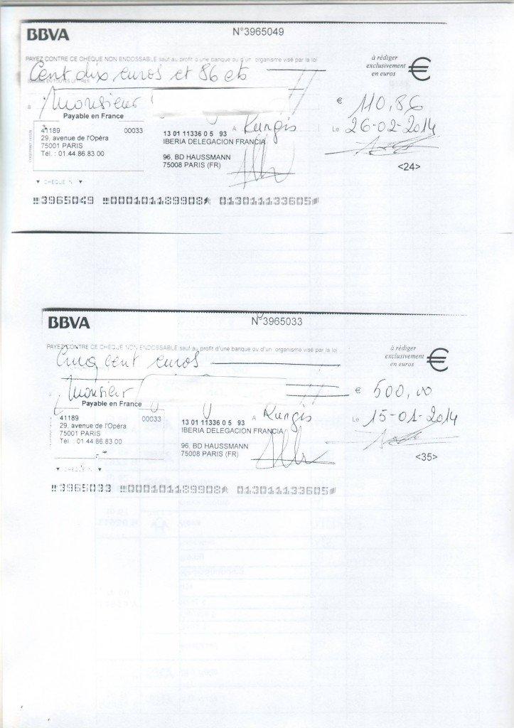 IBERIA refus d'embarquement, refus d'indemniser, retard important avion IBERIA et finalement, condamnation  d'IBERIA                _________________________ dans indemnisation avion 2chequesiberia3-723x1024