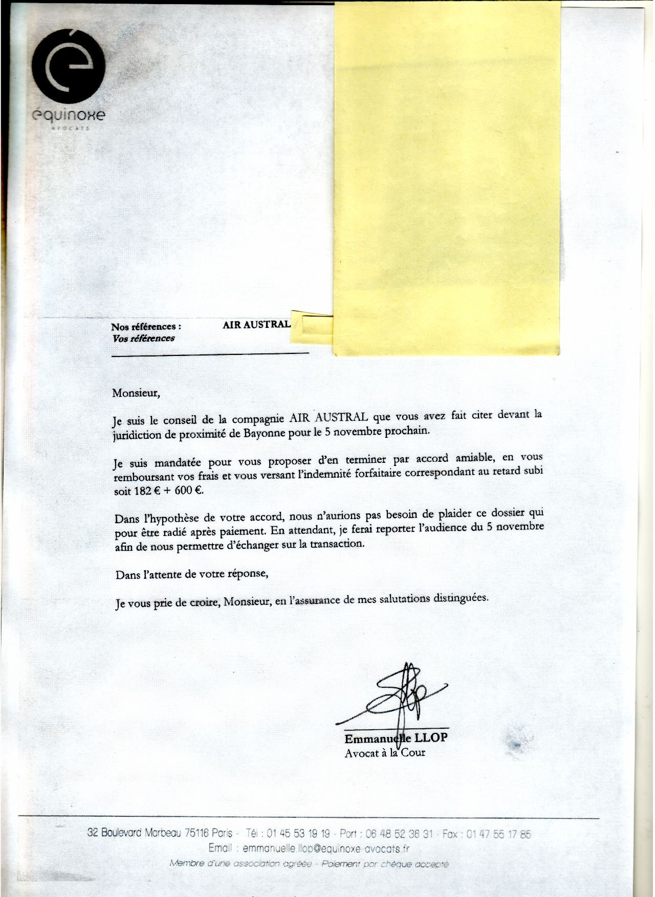 modele lettre accord geste commercial